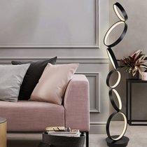 Lampadaire design 6 anneaux 160 cm en métal noir