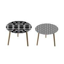 Lot de 2 tables basses rondes 50 et 40 cm en verre motif vintage