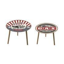 Lot de 2 tables basses rondes 50 et 40 cm en verre motif garage