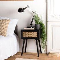 Chevet 1 tiroir en rotin naturel et bois noir - MARYSE