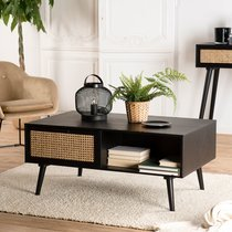 Table basse 2 tiroirs en rotin naturel et bois noir - MARYSE