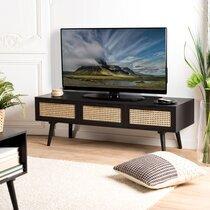 Meuble TV 3 tiroirs en rotin naturel et bois noir - MARYSE