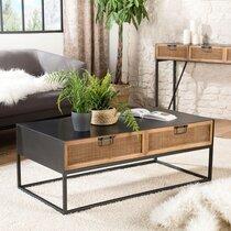 Table basse 2 tiroirs en rotin naturel et métal noir - JUDY
