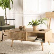 Table basse 2 tiroirs en rotin et bois naturel - MAGUY