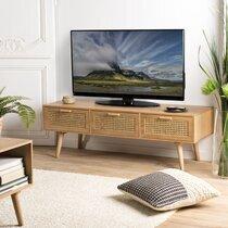 Meuble TV 3 couleurs  en rotin et bois naturel - MAGUY