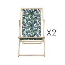 Lot de 2 chiliennes 58x93,5x96,5 cm motif jungle