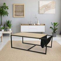 Table basse avec porte revues 112x60x45 cm naturel et noir