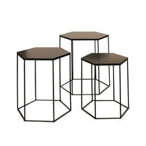 Lot de 3 tables basses hexagonales en métal noir