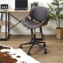 Chaise de bureau à roulettes en PU noir et bois marron