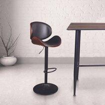 Chaise de bar 52,5x51x97 cm en PU noir et bois marron
