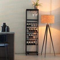 Meuble range-bouteilles 45x35x180 cm en métal noir - CANTOR