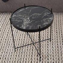 Table d'appoint en verre imitation marbre noir et métal - CUPID