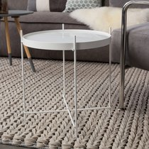 Table d'appoint en verre imitation marbre blanc et métal - CUPID