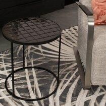 Table d'appoint 40 cm avec  plateau en carreaux de céramique noire