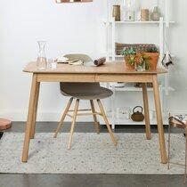 Table à manger 120/162x80x76 cm décor frêne naturel - GLIMPS