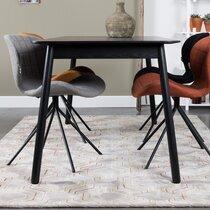 Table à manger 120/162x80x76 cm décor frêne noir - GLIMPS