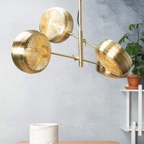 Suspension 4 lampes 100x70x160 cm en métal laiton - GRINGO