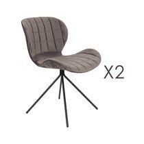 Lot de 2 chaises vintage en velours gris - OMG