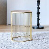 Table d'appoint 40,5x35,5x50,5 cm en métal doré