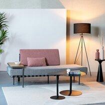 Canapé en tissu gris et rose avec tablette amovible