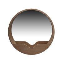 Miroir rond 40 cm avec étagère en décor chêne naturel