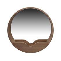 Miroir rond 60 cm avec étagère en décor chêne naturel