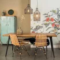 Table à manger 180x90x75 cm décor noyer et métal - ALAGON