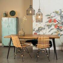 Table à manger 200x90x75 cm décor noyer et métal - ALAGON
