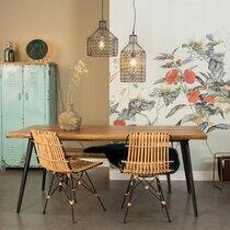 Table à manger 220x90x75 cm décor noyer et métal - ALAGON