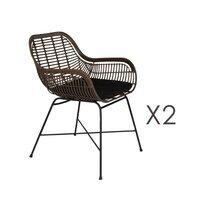 Lot de 2 fauteuils de jardin 52x59x78,5 cm en rotin synthétique