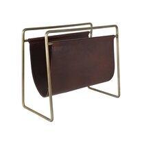Porte-revues 45x26x40 cm en cuir brun et métal doré