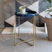 Table d'appoint ronde 42x55 cm en aluminium bleu foncé et doré