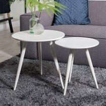 Lot de 2 tables d'appoint rondes 50 et 40 cm en bois et métal blanc