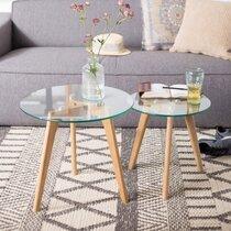Lot de 2 tables d'appoint rondes 50 et 40 cm en verre et chêne