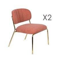 Lot de 2 chaises 56x60x68 cm en tissu rose - JULIEN