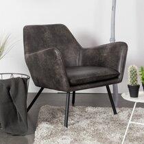 Fauteuil 80x76x78 cm en PU vintage gris foncé - BONY
