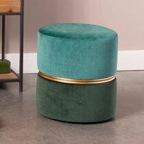Pouf rond 35x39 cm en velours vert - BULBY