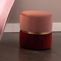 Pouf rond 35x39 cm en velours rose - BULBY