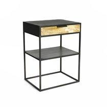 Table d'appoint 1 tiroir 45x35x60 cm en manguier et métal noir