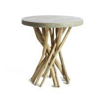 Table d'appoint ronde 50x55 cm en teck naturel