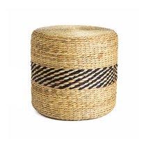 Lot de 2 poufs ronds 40 cm en paille naturel et noir