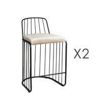 Lot de 2 chaises de bar 51x48x80 cm en tissu beige