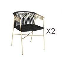 Lot de 2 chaises 50x55x77 cm en corde noir et métal laiton