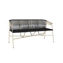 Canapé 3 places 150 cm en corde noir et métal laiton
