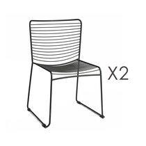 Lot de 2 chaises 54x53x77,5 cm en métal noir