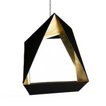 Miroir design 46x53 cm en métal noir mat et doré