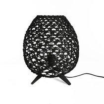 Lampe de table 29x34,5 cm en rotin et métal noir