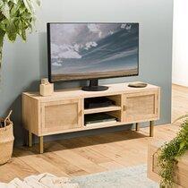 Meuble TV 2 portes et 2 niches en toile de jute et métal - ALIZEE
