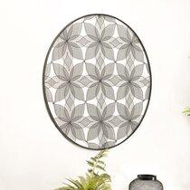 Décoration murale ronde 90 cm motif fleurs en métal noir - RORY