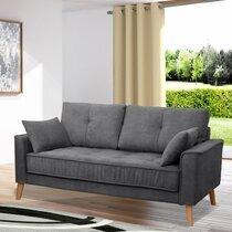 Canapé 2,5 places fixe en tissu gris foncé - EDEA